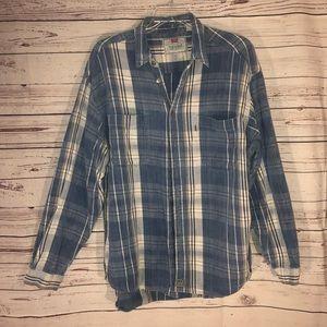 Vintage Levi's Plaid Button Up Denim Shirt Size XL